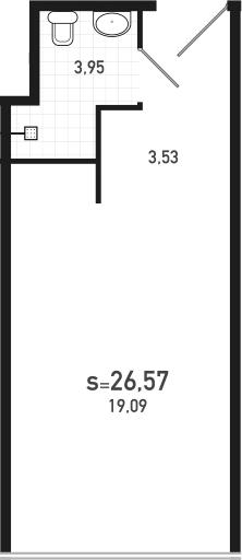 Студия 26 м<sup>2</sup> на 14 этаже