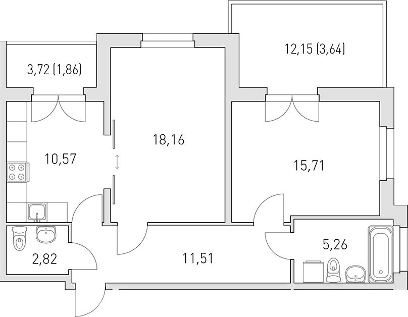 2-комнатная 79 м<sup>2</sup> на 1 этаже