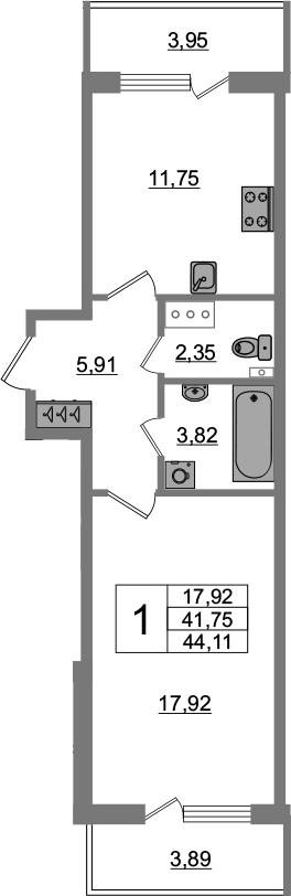 1-комнатная 49 м<sup>2</sup> на 4 этаже