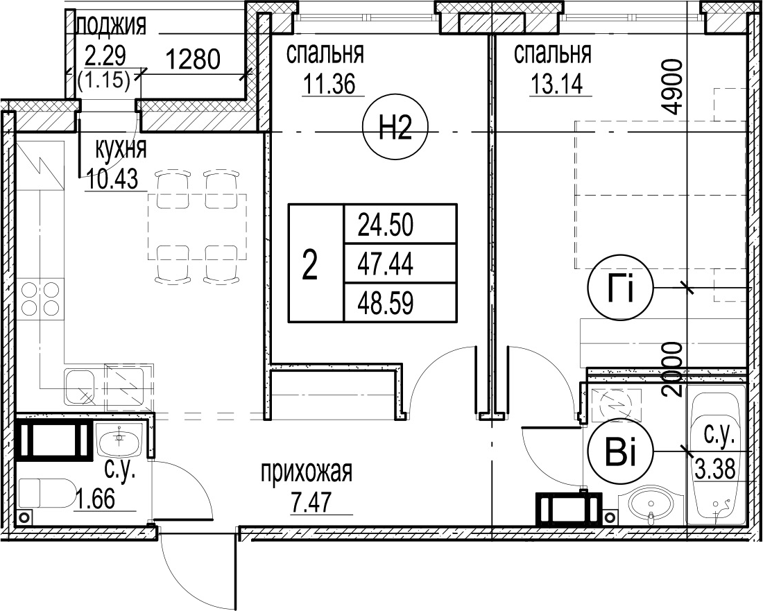 2-комнатная 49 м<sup>2</sup> на 12 этаже