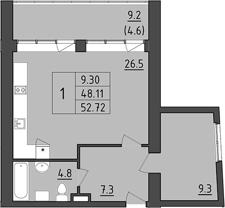 2-комнатная 66 м<sup>2</sup> на 4 этаже