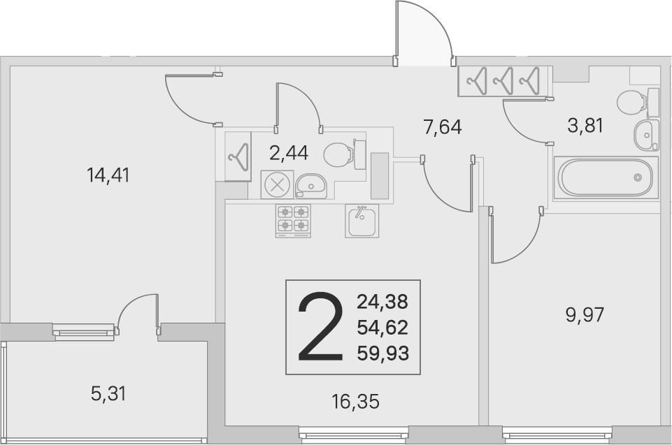 3-комнатная 59 м<sup>2</sup> на 4 этаже