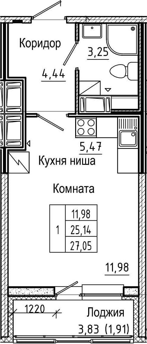 Студия 28 м<sup>2</sup> на 24 этаже