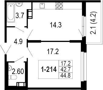 1-комнатная 47 м<sup>2</sup> на 3 этаже
