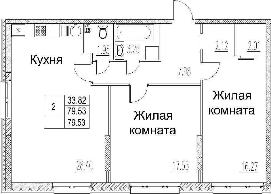 3-комнатная 79 м<sup>2</sup> на 2 этаже