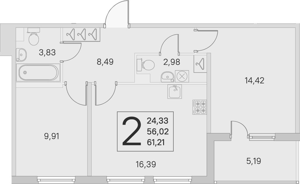 3-комнатная 61 м<sup>2</sup> на 1 этаже