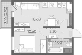 2-комнатная 39 м<sup>2</sup> на 25 этаже