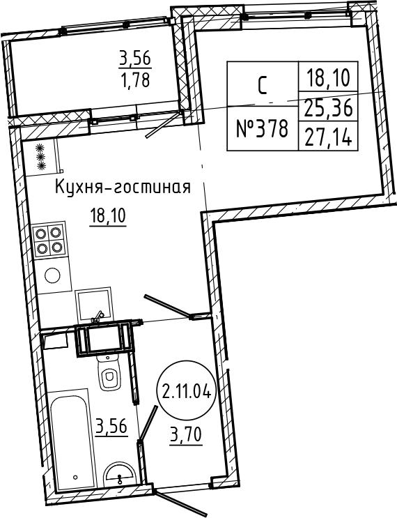 Студия 28 м<sup>2</sup> на 11 этаже