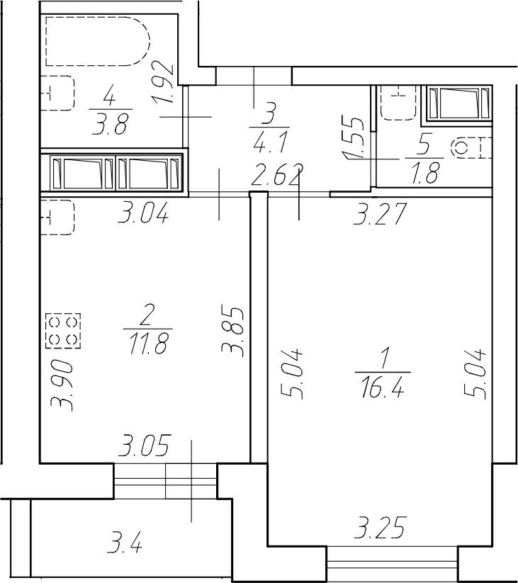 1-комнатная 41 м<sup>2</sup> на 14 этаже