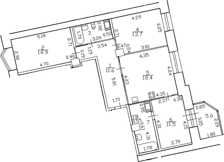 4-комнатная 86 м<sup>2</sup> на 3 этаже