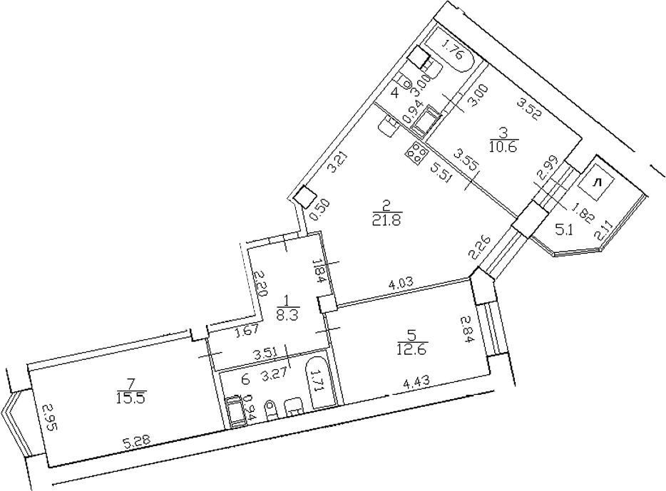 4-комнатная 83 м<sup>2</sup> на 14 этаже