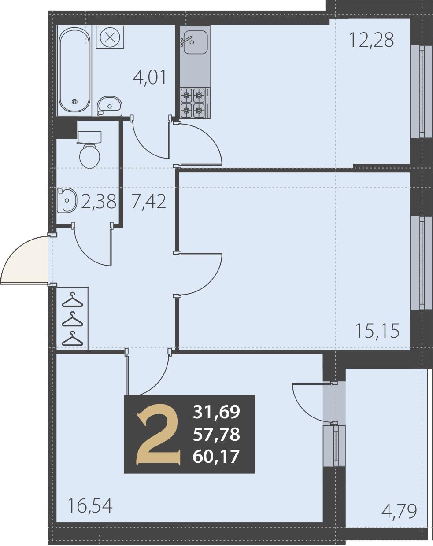 2-комнатная 62 м<sup>2</sup> на 2 этаже