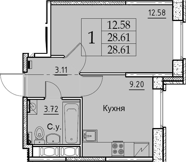 1-комнатная 28 м<sup>2</sup> на 2 этаже