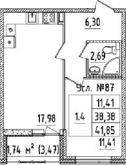 2-к.кв (евро), 41.85 м²