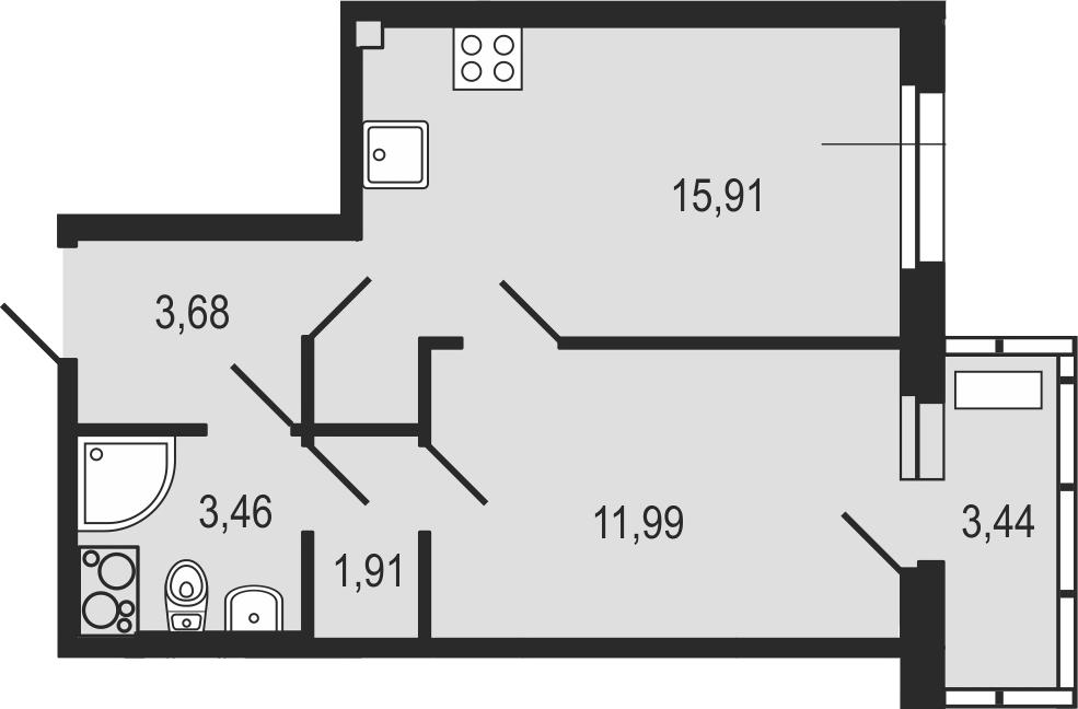 2-комнатная 40 м<sup>2</sup> на 17 этаже
