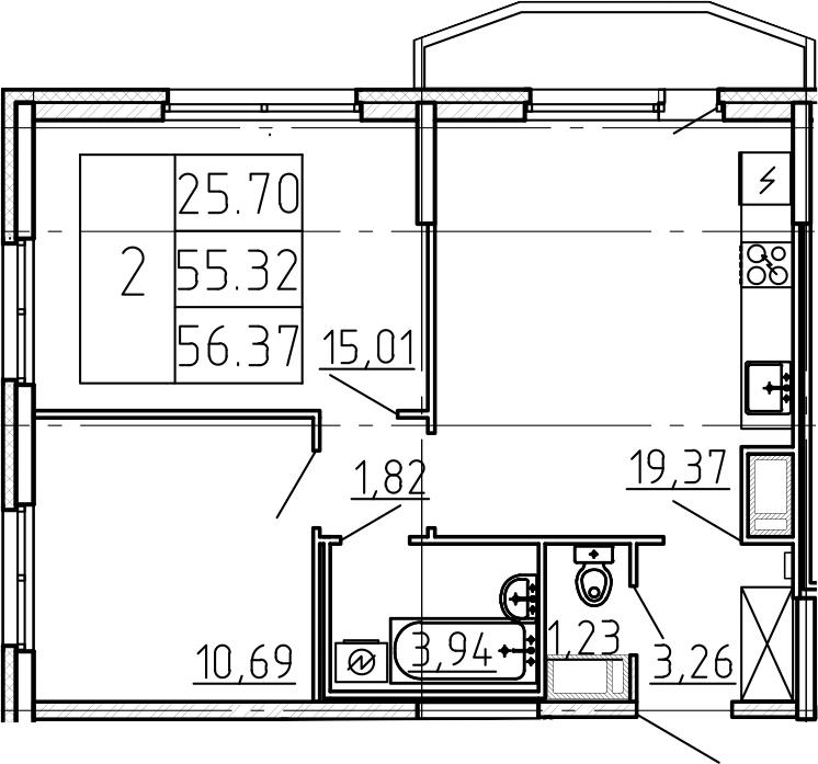 3-комнатная 58 м<sup>2</sup> на 11 этаже