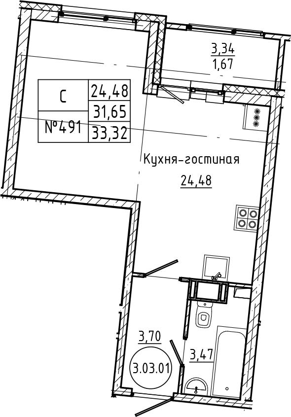 Студия 34 м<sup>2</sup> на 3 этаже