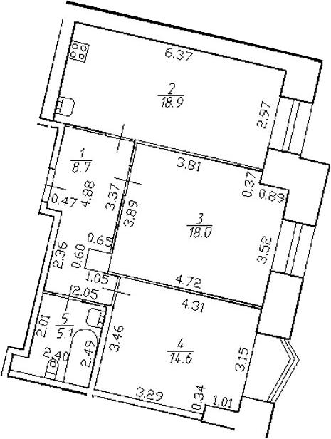 3-комнатная 65 м<sup>2</sup> на 2 этаже