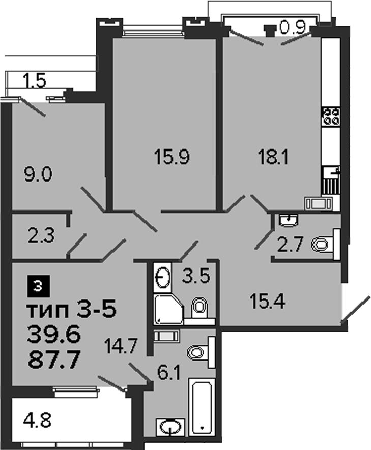 3-комнатная 94 м<sup>2</sup> на 7 этаже