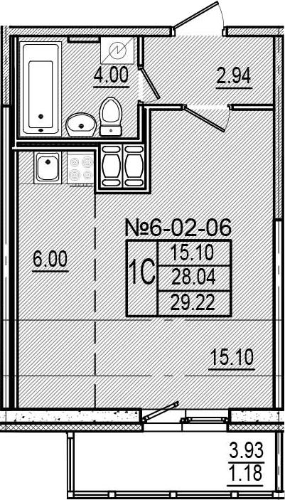 Студия, 30.4 м²