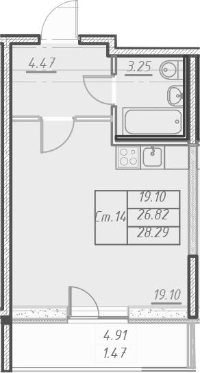 Студия 31 м<sup>2</sup> на 8 этаже