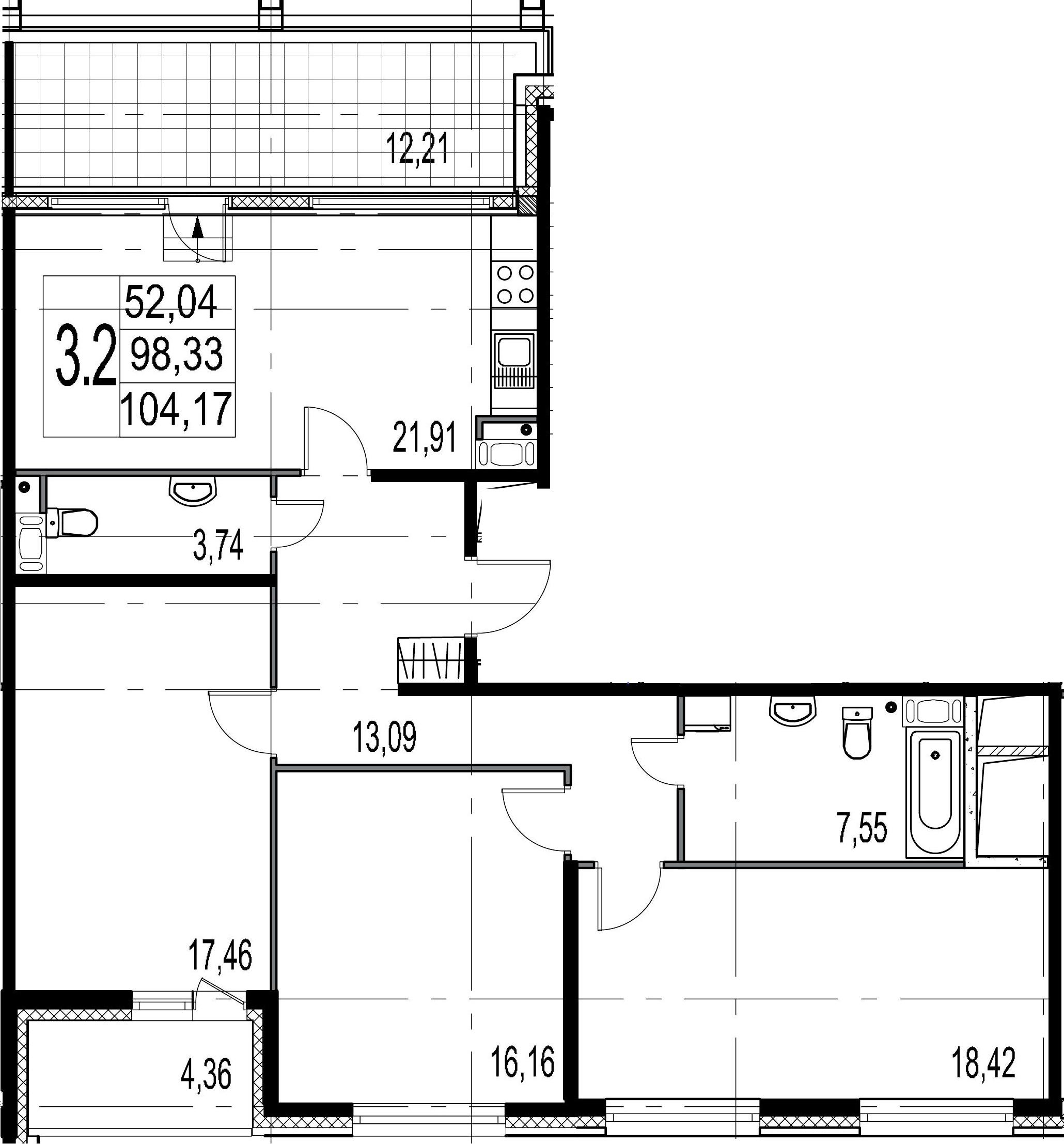 4-комнатная 114 м<sup>2</sup> на 9 этаже