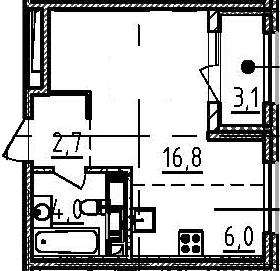 Студия 32 м<sup>2</sup> на 9 этаже
