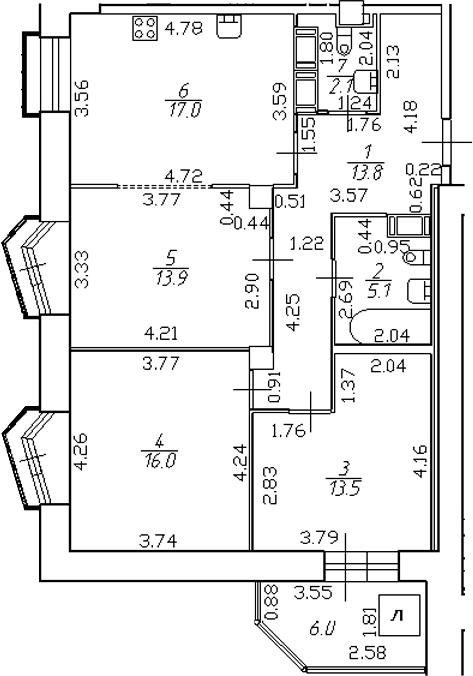 4-комнатная 87 м<sup>2</sup> на 18 этаже