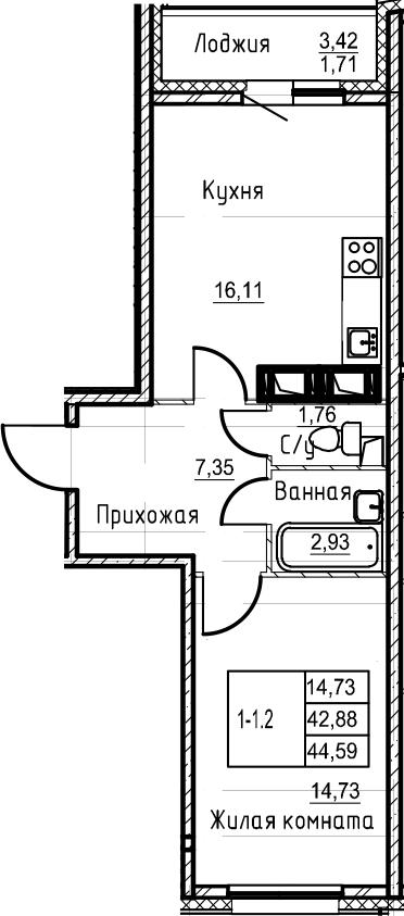 2-комнатная 46 м<sup>2</sup> на 20 этаже