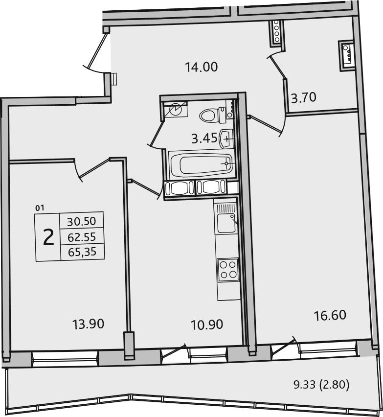 2-комнатная 71 м<sup>2</sup> на 2 этаже