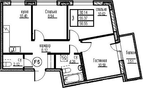 3-к.кв, 60.37 м²