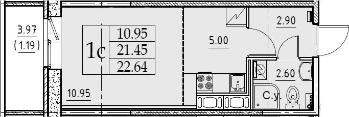Студия 25 м<sup>2</sup> на 10 этаже