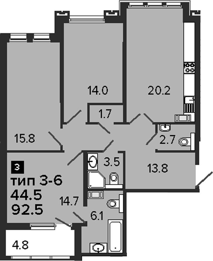 3-комнатная 97 м<sup>2</sup> на 6 этаже