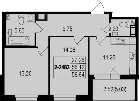 2-комнатная 61 м<sup>2</sup> на 8 этаже