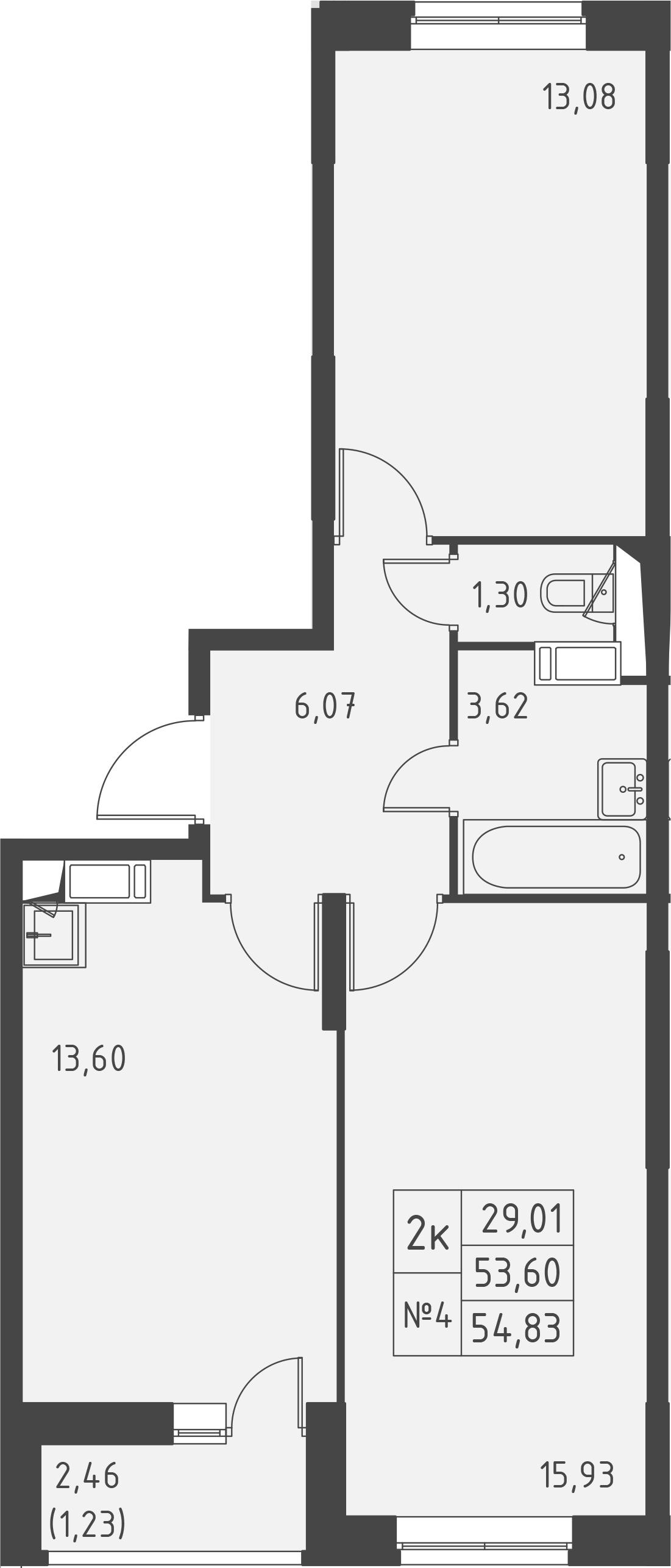 2-к.кв, 56.06 м²