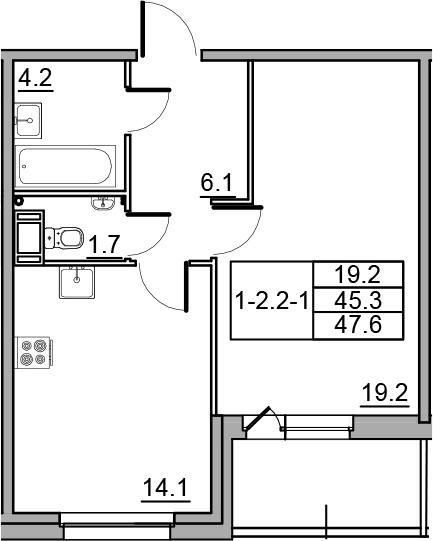 1-комнатная 49 м<sup>2</sup> на 12 этаже