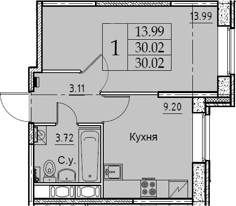 1-комнатная 30 м<sup>2</sup> на 2 этаже