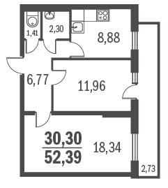 2-к.кв, 58.76 м²