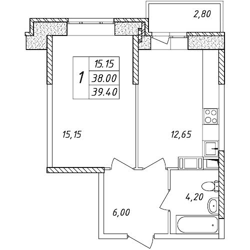 1-к.кв, 40.8 м²
