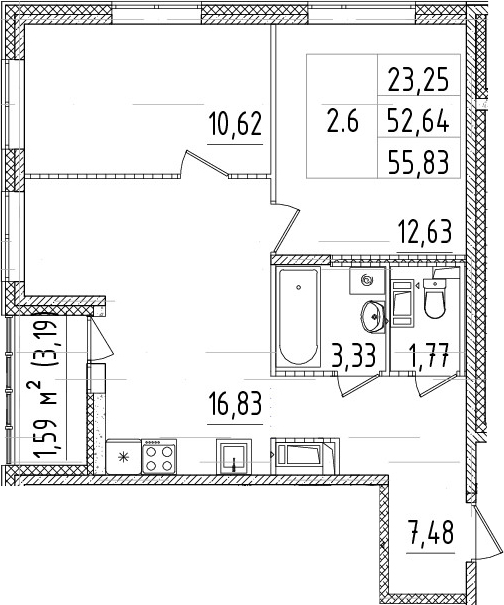 3-комнатная 55 м<sup>2</sup> на 10 этаже