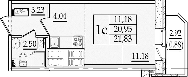Студия 23 м<sup>2</sup> на 19 этаже