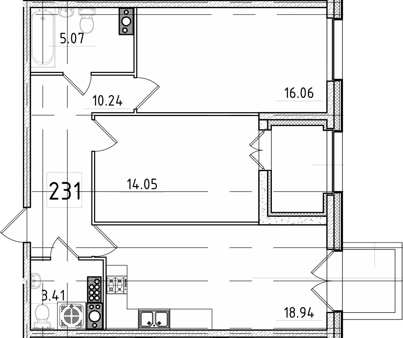 3-к.кв (евро), 74.33 м²