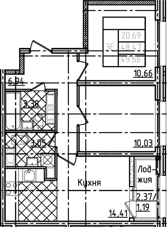 3-комнатная 50 м<sup>2</sup> на 22 этаже