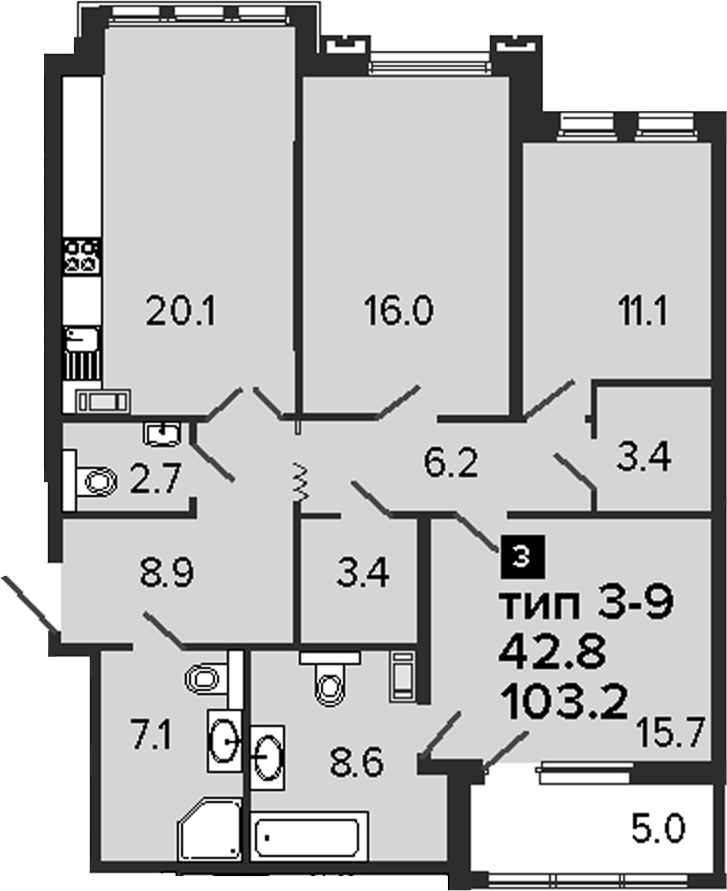 3-комнатная 108 м<sup>2</sup> на 6 этаже