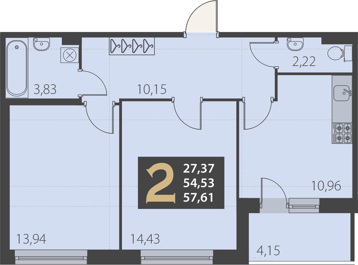2-комнатная 59 м<sup>2</sup> на 2 этаже