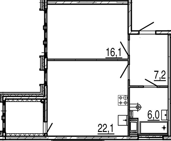 2-комнатная 55 м<sup>2</sup> на 6 этаже