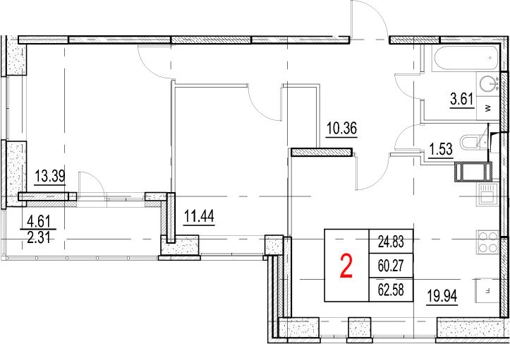 3-к.кв (евро), 64.89 м²