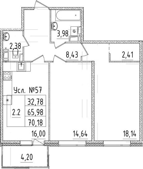3-комнатная 70 м<sup>2</sup> на 4 этаже