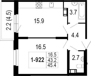 2-комнатная 47 м<sup>2</sup> на 12 этаже
