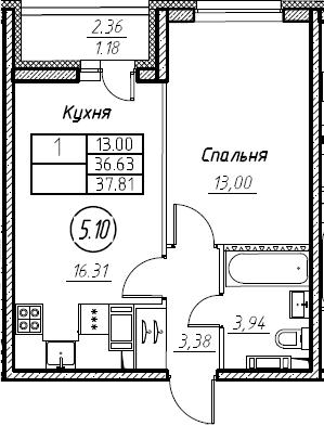 2-комнатная 38 м<sup>2</sup> на 13 этаже